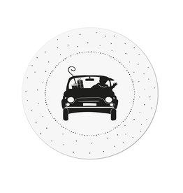 Zoedt Muurcirkel (binnen) wit piet in de auto - 20cm