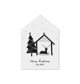 Zoedt Kerst cadeaukaartje huisje Merry Christmas my deer