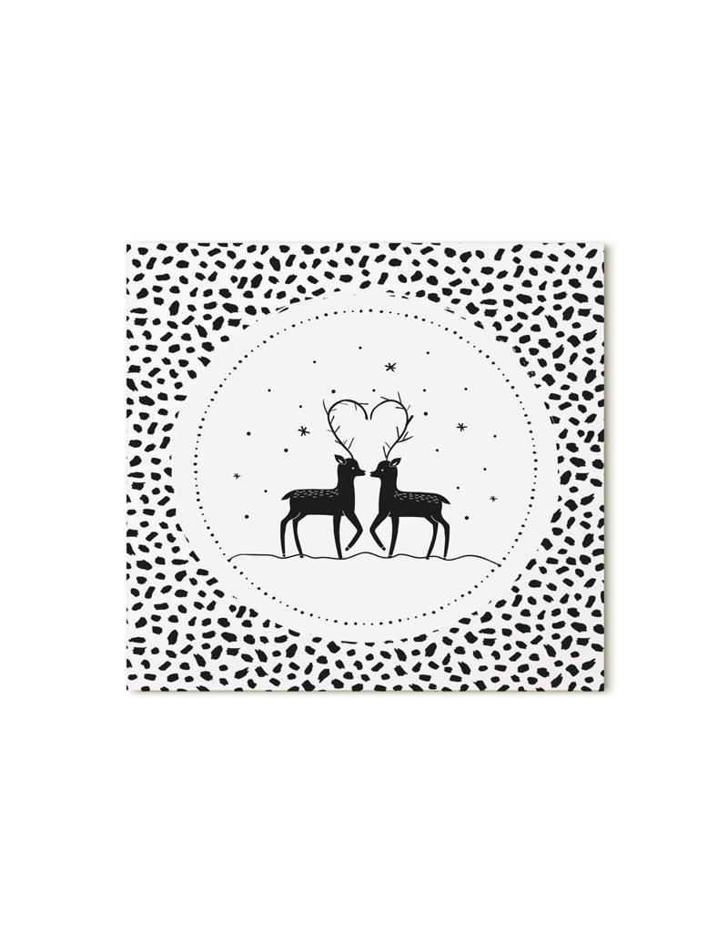 Zoedt Minikaartje wit hertjes met patroon