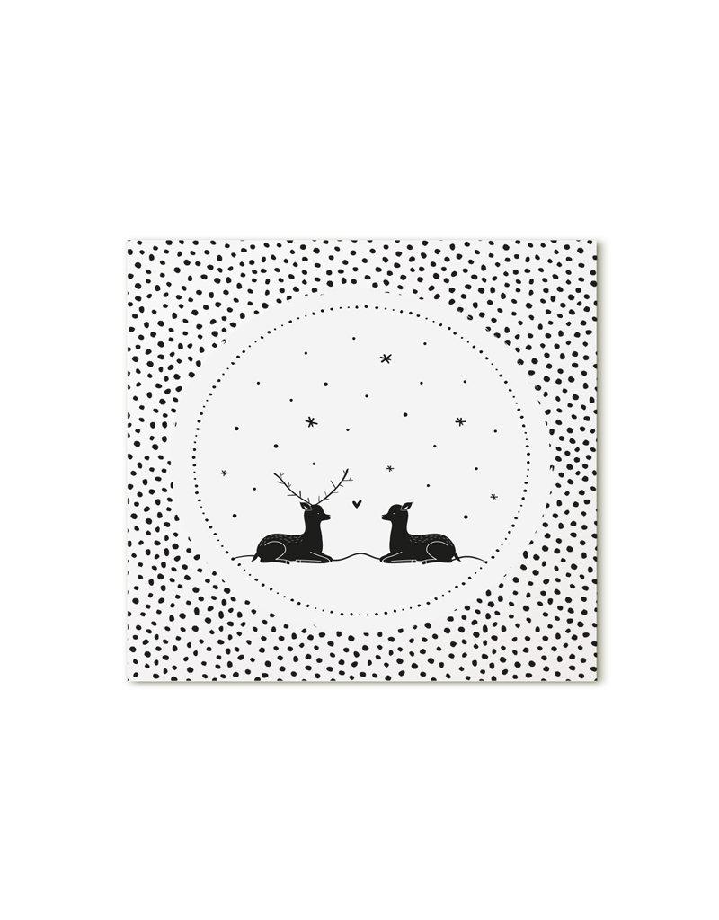 Zoedt Minikaartje wit hertjes dots patroon