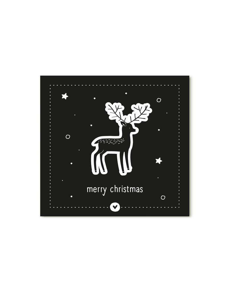 Zoedt Minikaartje zwart Merry Christmas