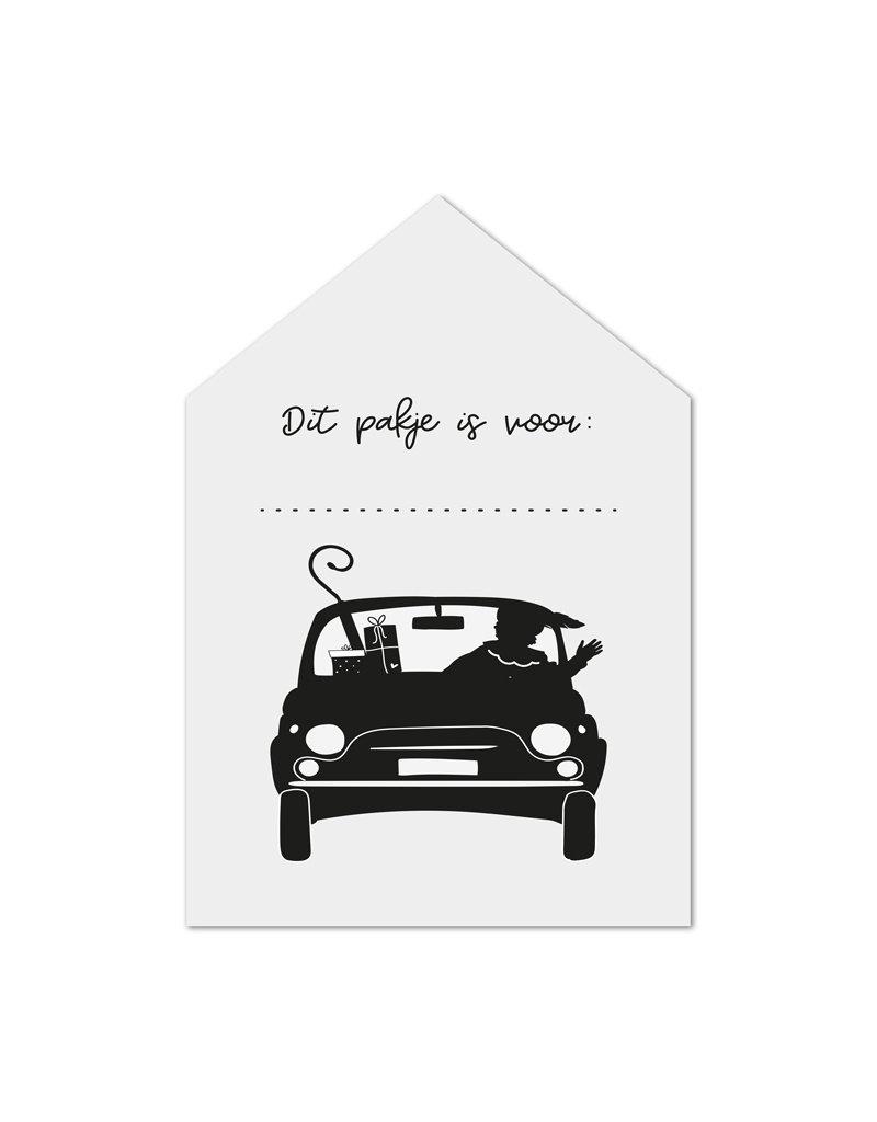 Zoedt Minikaartje wit huisje Pieten auto Dit pakje is voor...