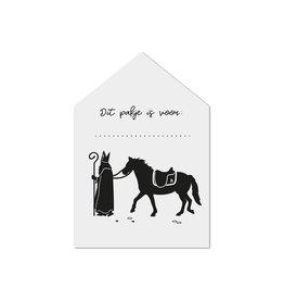 Zoedt Sinterklaas cadeaukaartje huisje Sint met paard Dit pakje is voor...