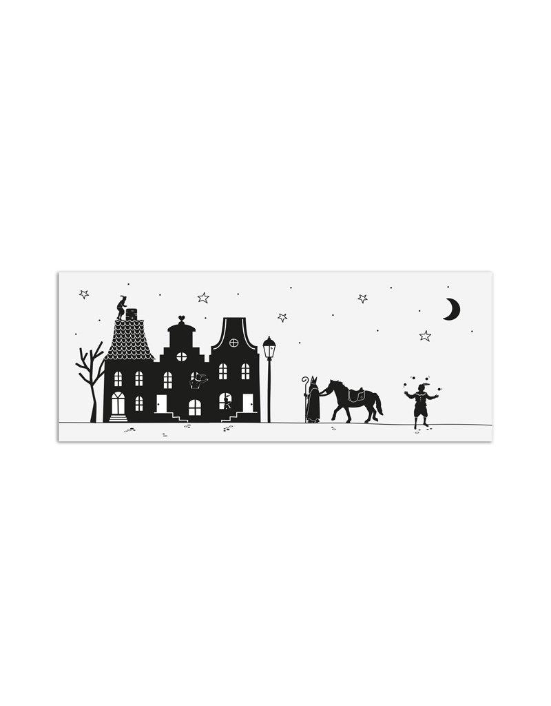 Zoedt Minikaartje wit Sinterklaas grachtenpanden