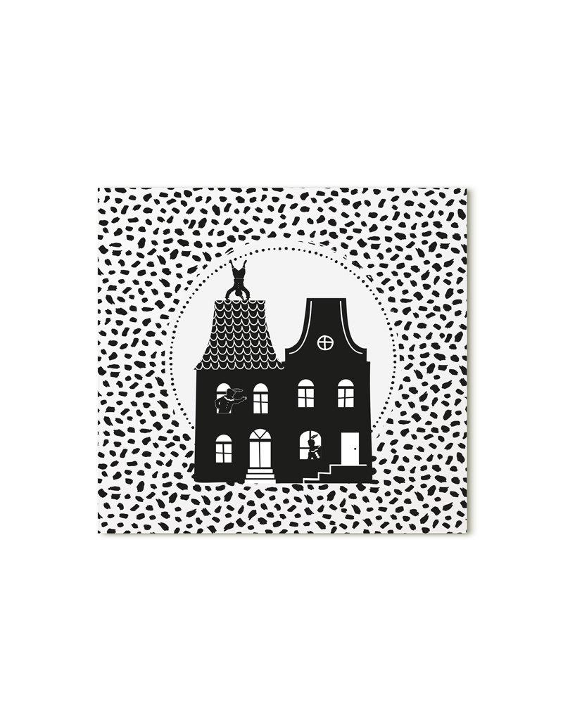 Zoedt Minikaartje wit Sinterklaas grachtenpanden dots patroon