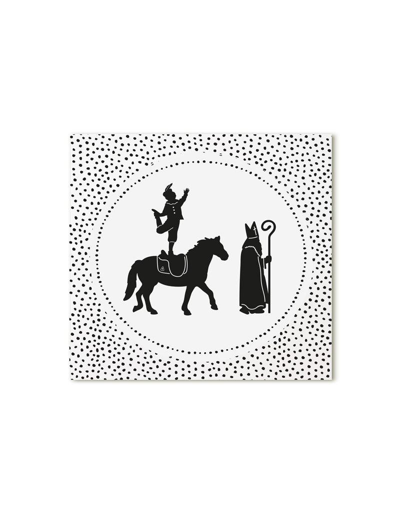 Zoedt Minikaartje wit Sint en Piet dots patroon
