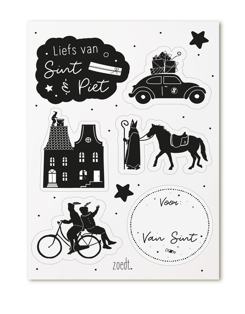 Zoedt 2 velletjes met Sinterklaas cadeautstickers