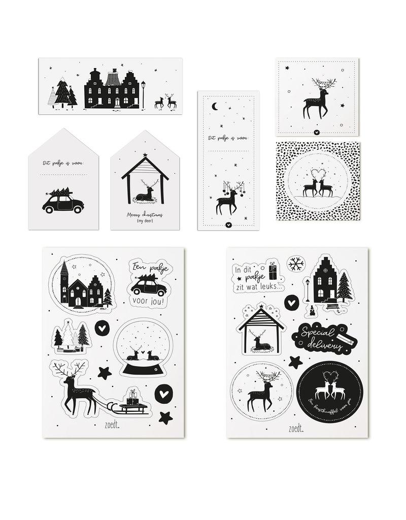 Zoedt Set kerstcadeaukaartjes + kerstcadeaustickers