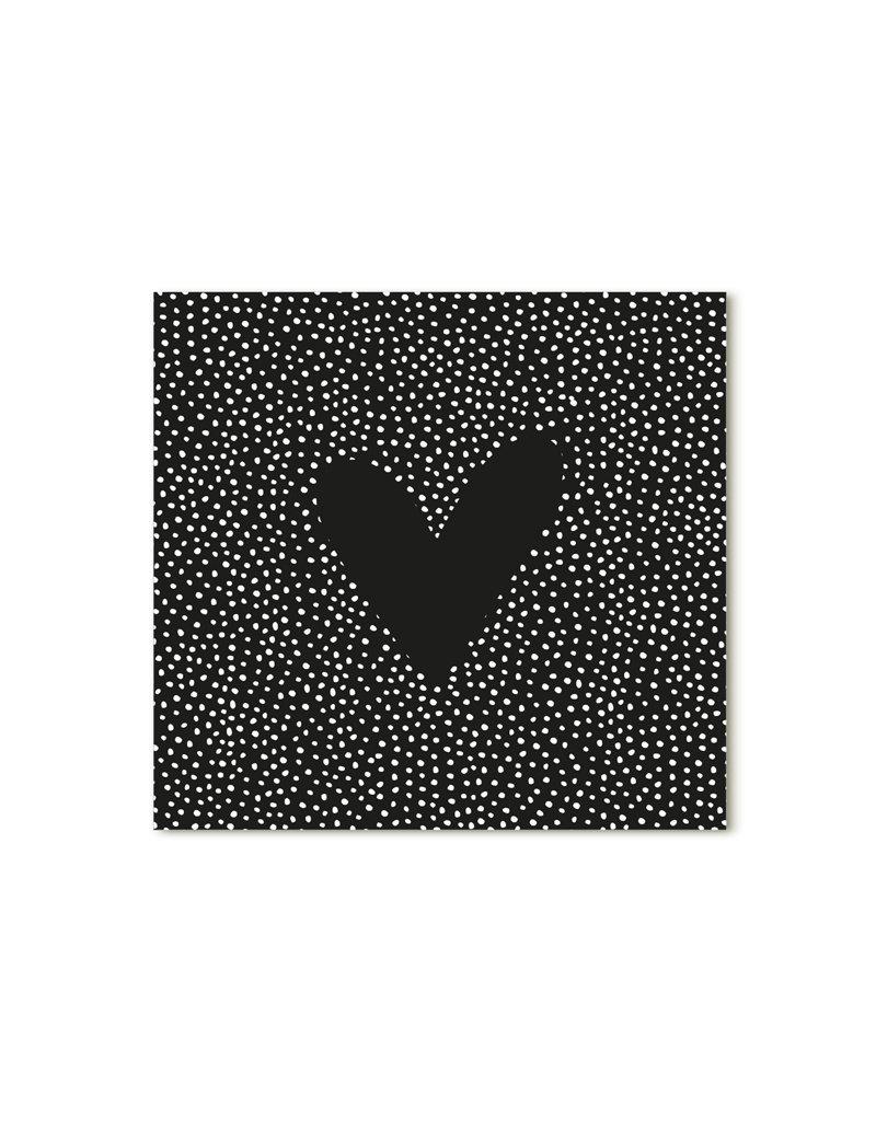 Zoedt Minikaartje zwart met hartje
