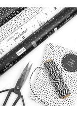 Zoedt Rol cadeaupapier wit met zwarte dots 50x300cm
