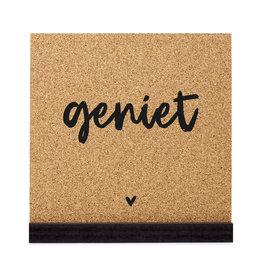 Zoedt Poster kurk vierkant met tekst 'Geniet'