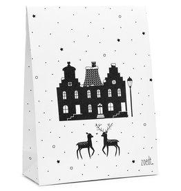Zoedt Kerst cadeauzakje wit met zwart patroon en kersttafereeltje