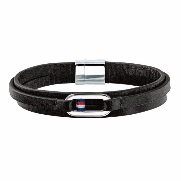 Zwarte leren armband (Leather Wrap TJ2790028)