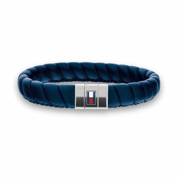 Blauwe leren armband (Leather Braid TJ2701058)