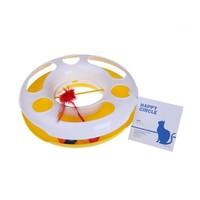 MPets Speelgoed Katten carrousel met 2 balletjes en een veer geel