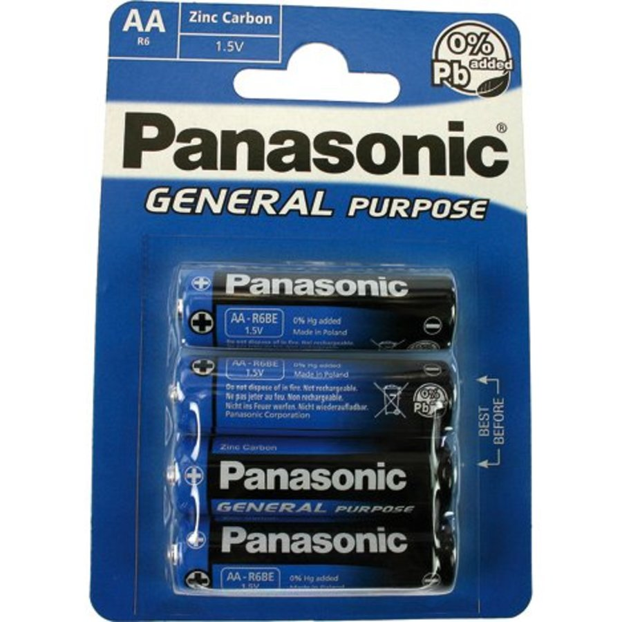 Panasonic Batterijen R6 Mignon AA 4 stuks