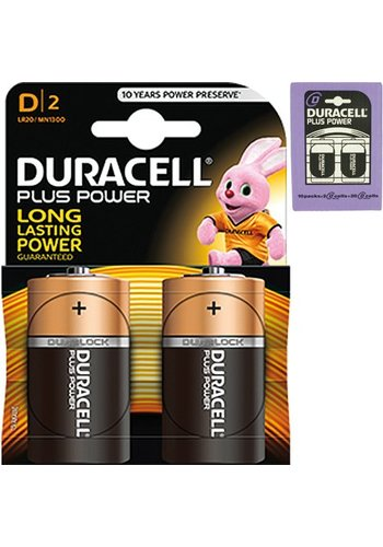 Duracell Duracell Batteries plus power Alkaline Mono 2 pièces MN1300