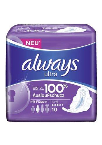 Always Always Ultra ServietteS  hygiéniques longues avec des ailes 10 pièces