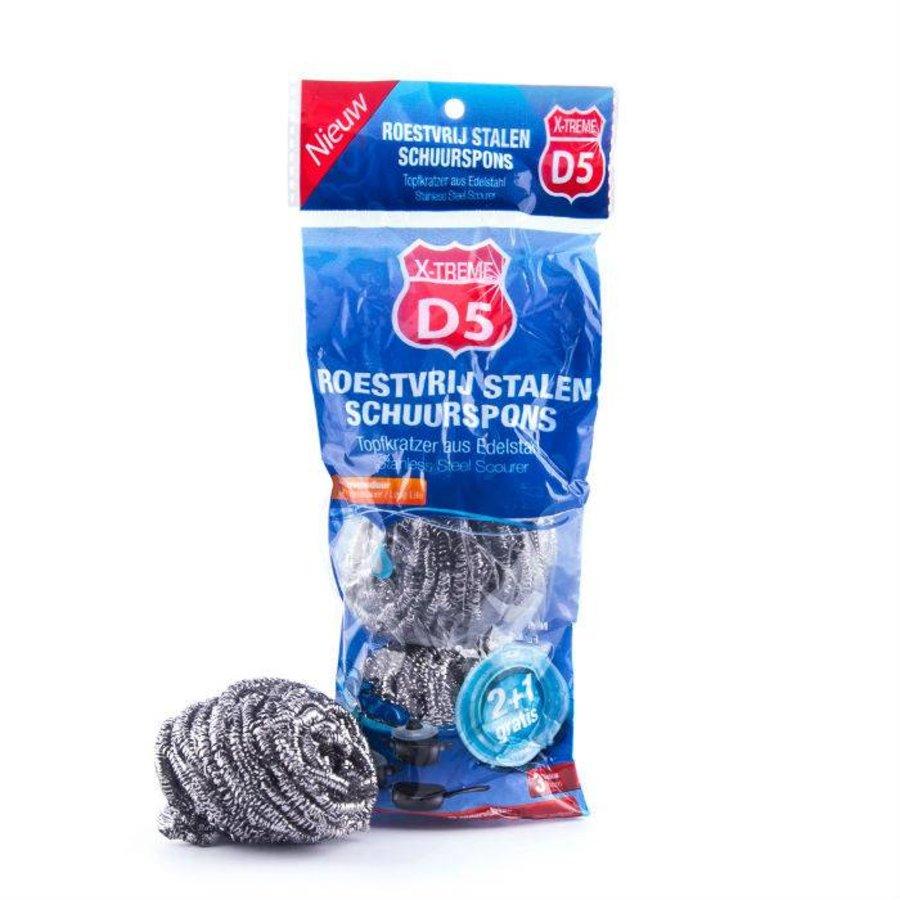 D5 X-treme Schuurspons edelstaal 3 stuks