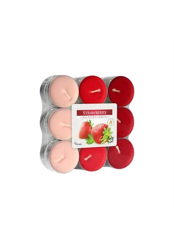 Bispol Bispol Bougies parfumée- fraise 18 pièces