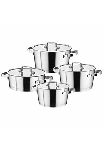 Falez Falez Set de casseroles de 8 pièces avec couvercle en verre et acier