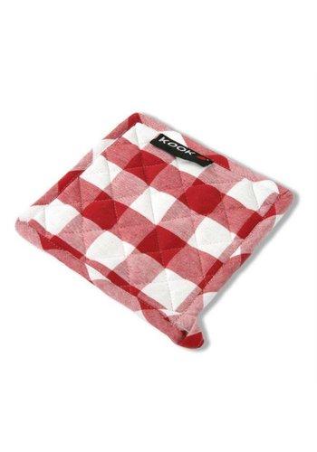 Kook Pannenlap ruit rood/wit - 21x21 cm
