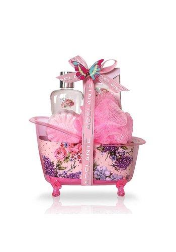 Adelante Set cadeau gel douche, granules de bain, bruisbal et éponge 120ml
