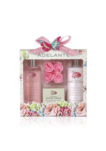 Adelante Geschenkset showergel, bodylotion, zeep en zeep bloemblaadjes 270 ml