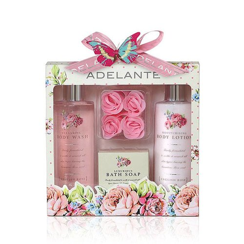 Adelante Geschenk-Set Duschgel, Bodylotion, Seife und Seife Blütenblätter 270ml
