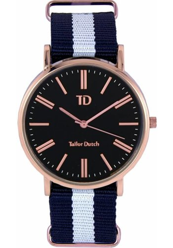 Tailor Dutch Tailor Dutch horloge rose goud zwart