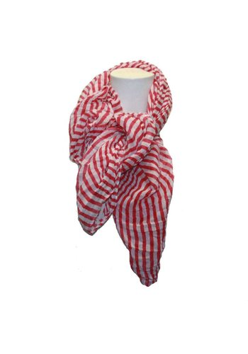 Romano Dames sjaal roze met witte strepen