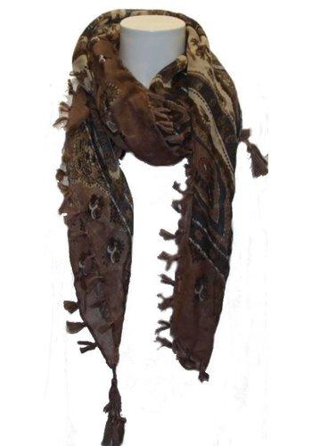 Romano Dames sjaal bruin met oosters motief