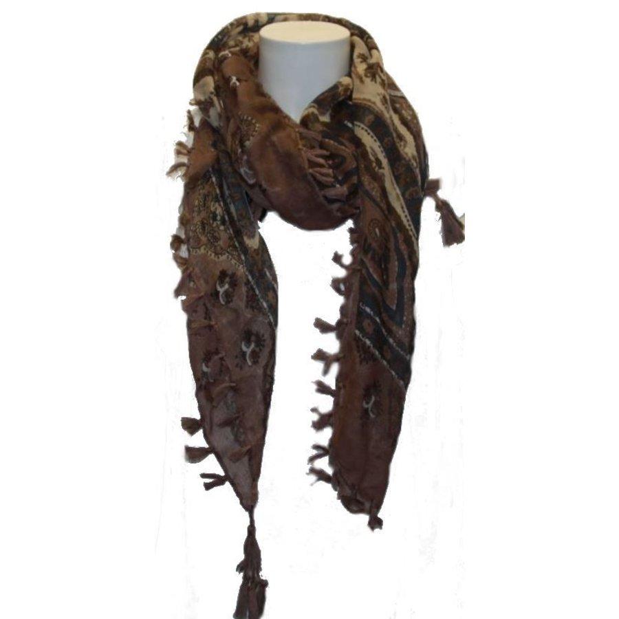 Damen Schal braun mit orientalischem Motiv
