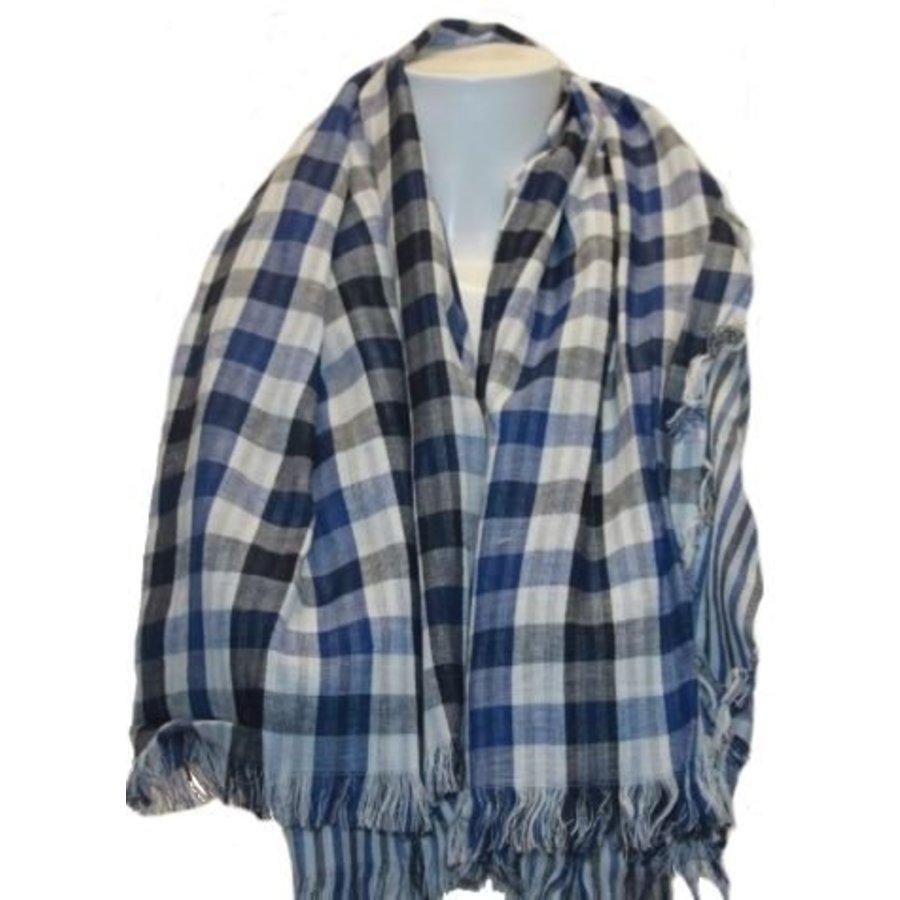 Sjaal ruit donker-blauw