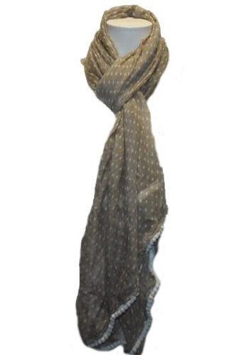 Romano Dames sjaal ecru met witte stippen