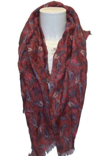 Romano Dames sjaal rood met vogel-motief