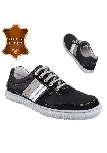Neckermann Heren Leren Sneakers- Zwart Grijs