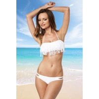 Weißer Bikini mit Fransen