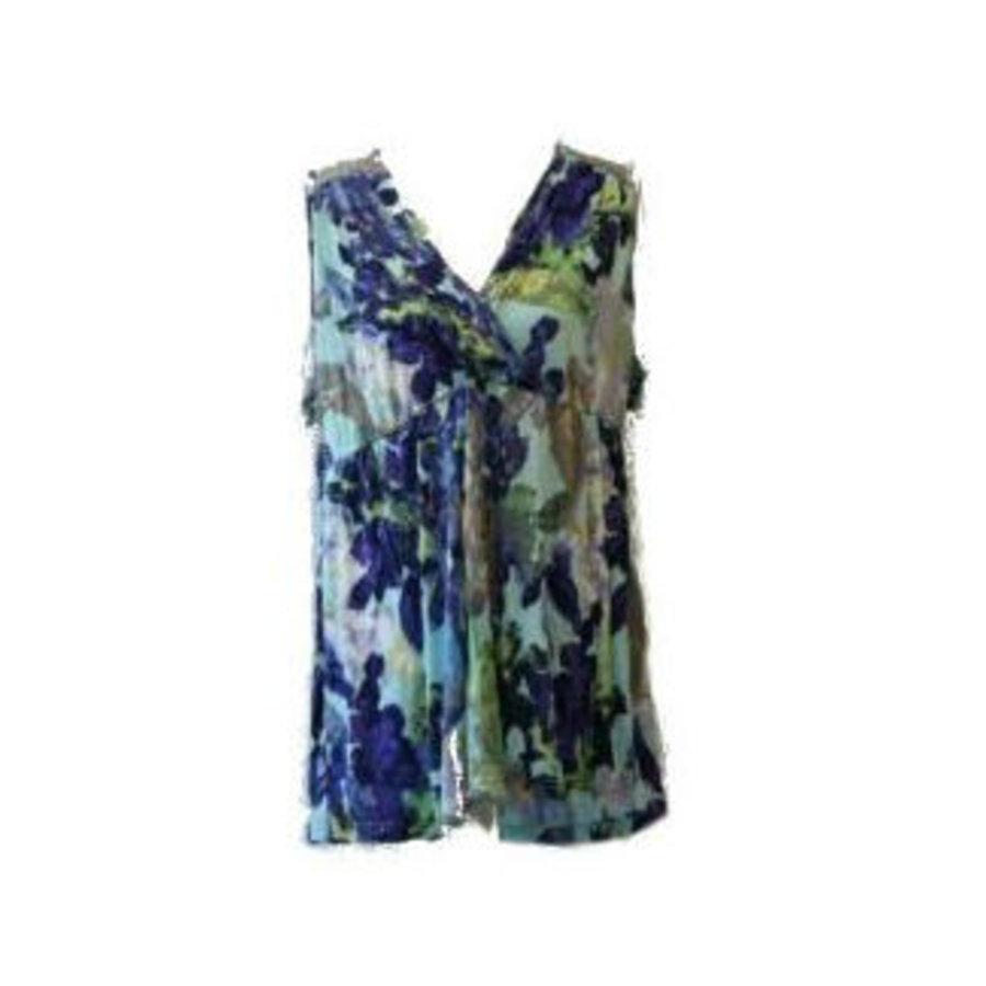 Tuniek met bloemen motief blauw-groen