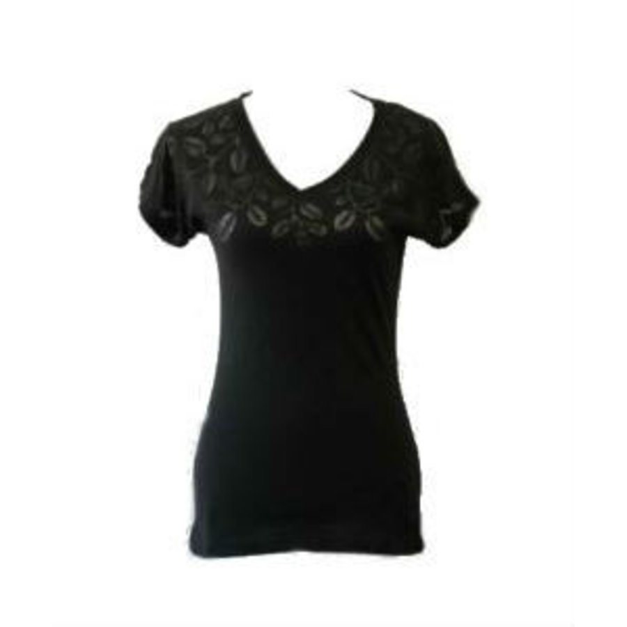 T-shirt col V avec motif floral