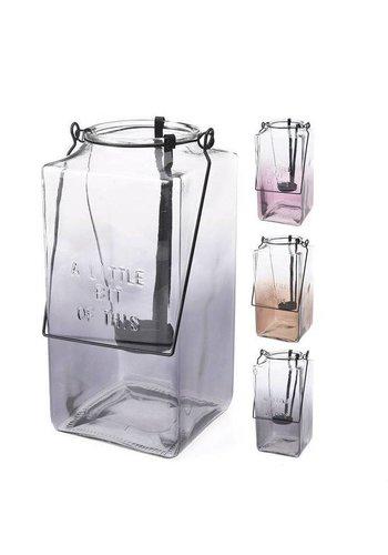 Neckermann Lantaarn van glas met handvat - 26x12x12 cm