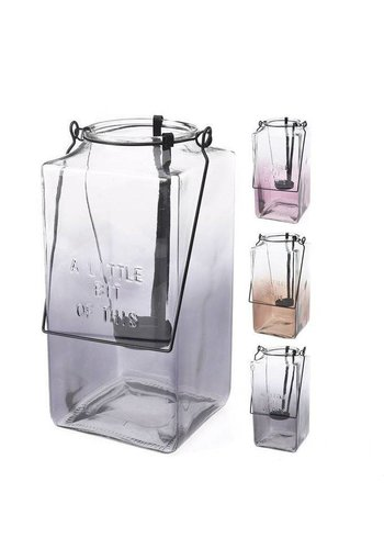 Neckermann Lantaarn van glas met handvat
