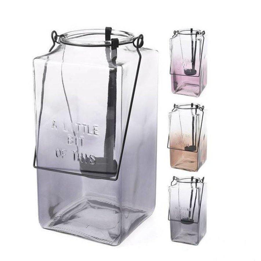 Lantaarn van glas met handvat - 26x12x12 cm