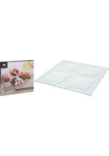 Excellent Houseware Glas Snack Teller Quadrat 26 cm