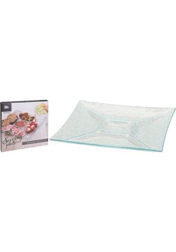 Excellent Houseware Glas Snack Teller Quadrat 26 cm - Copy