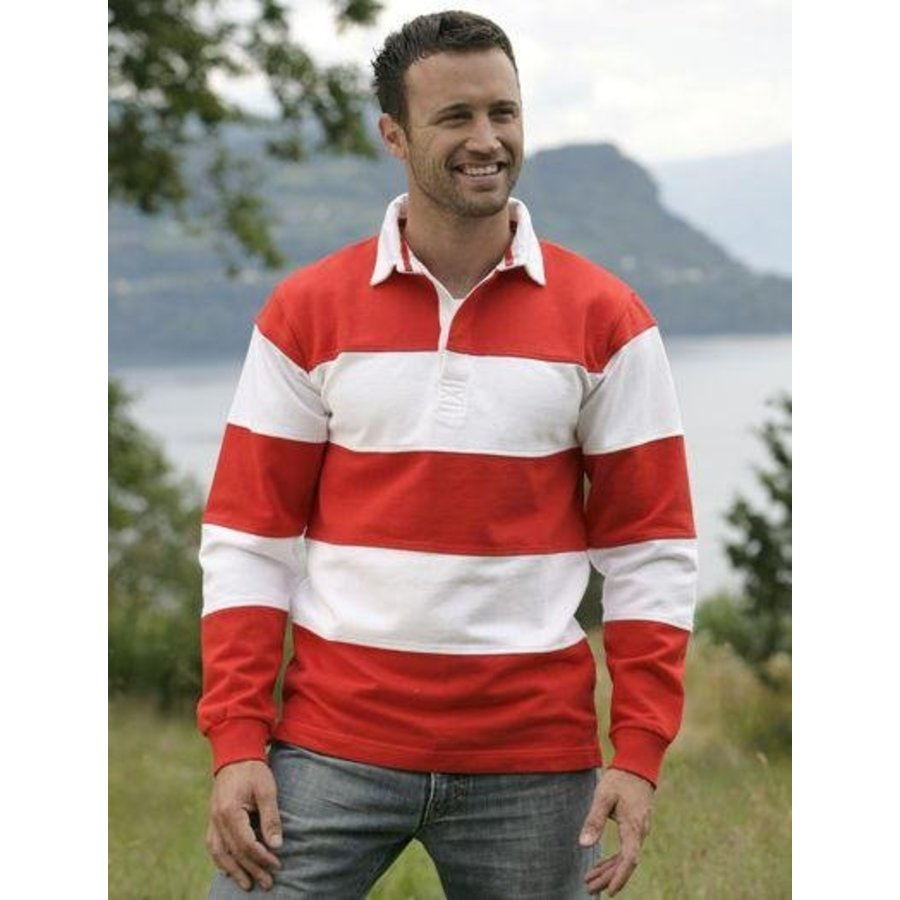 Pull manches longues avec col rayé blanc / rouge