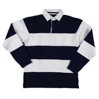 Pullover langarm mit kragen blau / weiß gestreift
