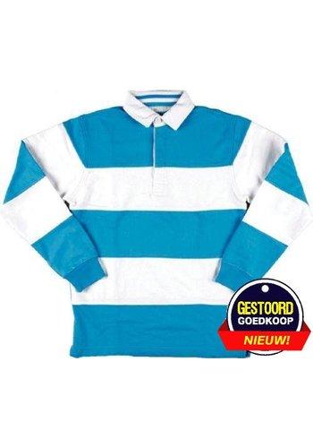 Lemon & Soda Pullover langarm mit kragen hellblau / weiß gestreift