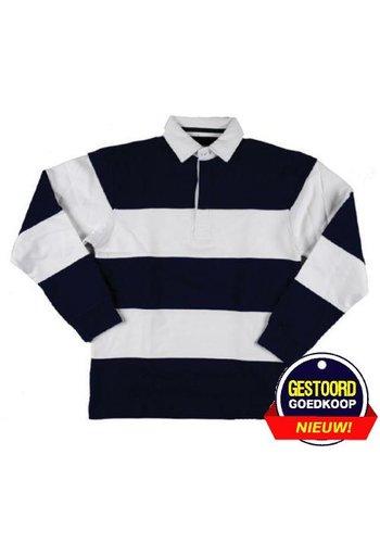 Lemon & Soda Sweater lange mouw met kraag  blauw/wit gestreept