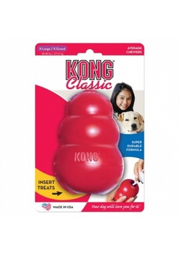 Kong Bijtvaste speel- en voederbal classic rood - assorti